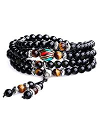 AmorWing Unique Gift Multilayer Tiger Eye and Obsidian Malas Prayer Beads Bracelet