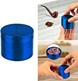 GPCT [Stainless Steel] Tobacco Herb Spice Grinder. 4.9 CM Tall, 4 Pieces, 3 Chambers, Pollen Catcher, Stive Scraper Included [Durable] Zinc Alloy Magnetic Top- Blue