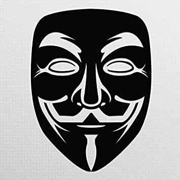 Anonymous Mask Black Vinyl Decal | Anonymous Stickers V for Vendetta Sticker Guy Fawkes Sticker Hacker Mask Sticker Anonymous Decal| Premium Quality | 5.5-Inches | D013