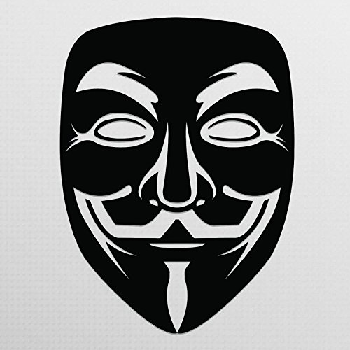 Vincit Veritas Anonymous Guy Fawkes Mask Black Vinyl Decal Sticker | Premium Quality | 5.5-Inches | (Android Guy Costume)