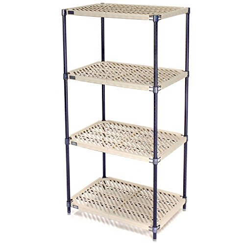 Vented Plastic Shelving, Nexelon Finish, 72x21x74