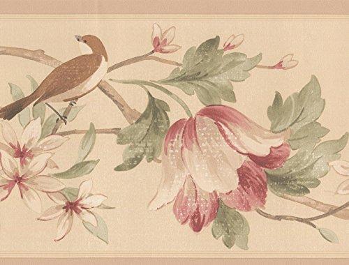Bird Border (Red White Flowers Birds on Branches Beige Floral Wallpaper Border Retro Design, Roll 15' x 7'')