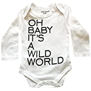 Silly Souls, Inc Oh Baby It's a Wild World, Unisex Newborn Baby Bodysuit White and Grey, 0-3 Months