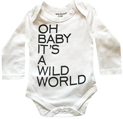 Silly Bodies - Silly Souls, Inc Oh Baby It's a Wild World, Unisex Newborn Baby Bodysuit White and Grey, 18-24 Months