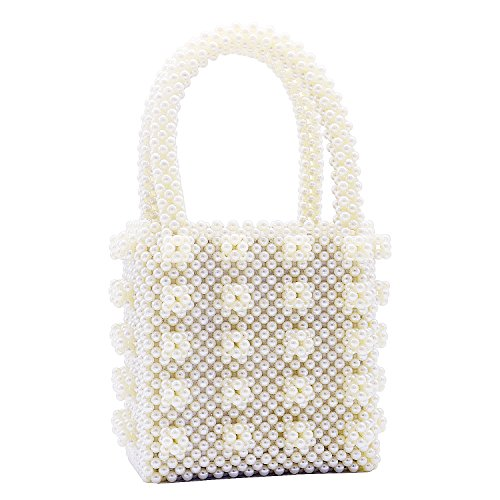 Miuco Womens Beaded Handbags Handmade Weave Crystal Pearl Tote Bags Cream