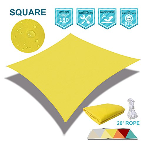 Coarbor 16 x 16 Square Yellow Waterproof Sun Shade Sail Perfect for Patio Outdoor Garden