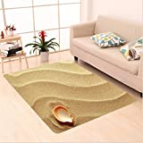Nalahome Custom carpet r Little Seashell On Golden Sand Spiritual Sea Animal Coastal Theme Decor Beachy Art Print Cream area rugs for Living Dining Room Bedroom Hallway Office Carpet (2′ X 4′)