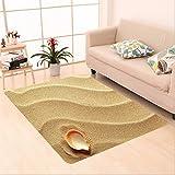 Cheap Nalahome Custom carpet r Little Seashell On Golden Sand Spiritual Sea Animal Coastal Theme Decor Beachy Art Print Cream area rugs for Living Dining Room Bedroom Hallway Office Carpet (4′ X 6′)