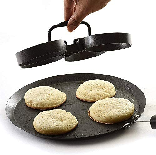 Black Non-Stick Egg//Pancake Ring Poachette Rings Cooking Mould Fried Egg Round Ring for Crumpets,Omelettes Set of 4 Rings Blac 2pcs