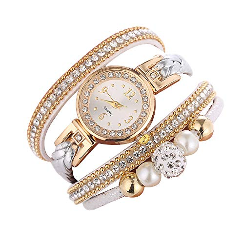 - WANQUIY Women's Watches Fashion Round Bracelet Watch with Diamonds Beautiful Girls Women Quartz Wrist Watch White