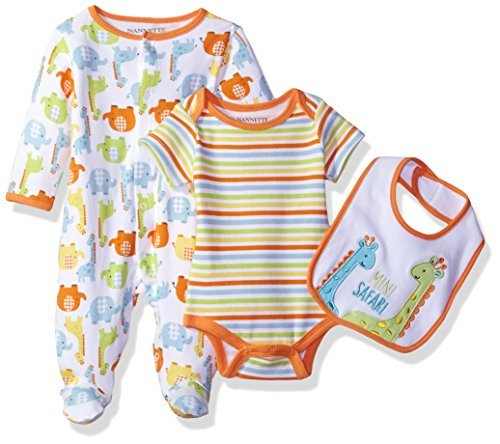 Nannette Baby Boys' 3 Piece Sleeper Creeper and Bib Set, Orange, ()