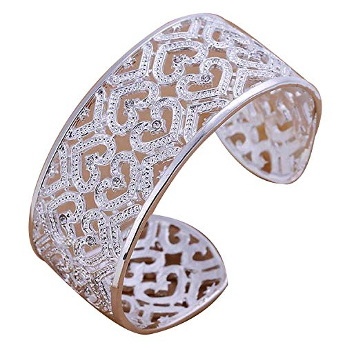 (Double Heart Bangle Bracelet for Women 925 Stamped Silver Plated Open Jewelry Cubic Zirconia )