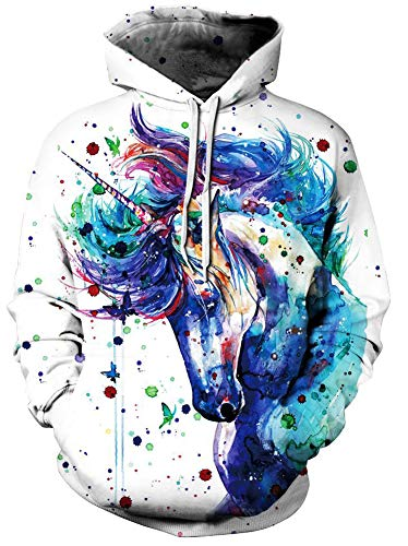 Unisex Realistic 3D Unicorn Tie Die Printed Hip Hop Street Style Hip Hop Sweatshirt Pullover Hoodie for Men Women