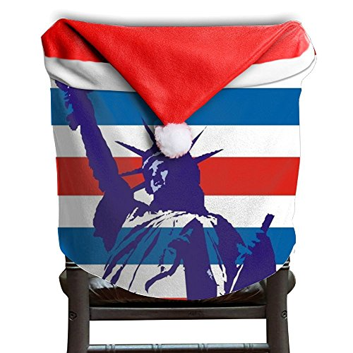 Christmas Seat Cover All Over 3D Printed Flag Statue Of Liberty Cool Santa Claus Chair Covers 50x60CM - Stores Village Liberty