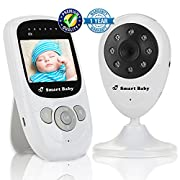 Video Baby Monitor by Smart Baby - Wireless Baby Monitor with 2.4  Color Screen and Night Vision Capabilities - Baby Camera Features Built-In Nightlight, Rechargeable Battery and Temperature Detection