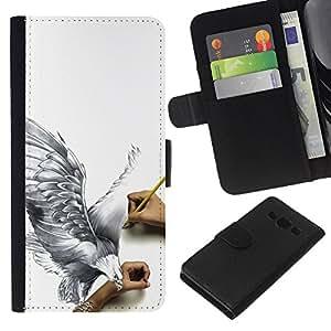 EJOY---La carpeta del tirón la caja de cuero de alta calidad de la PU Caso protector / Samsung Galaxy A3 / --Paloma impresionante