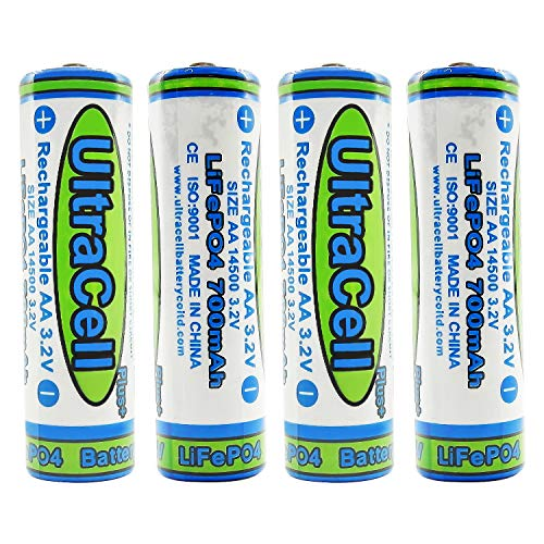 (4-Pack) Ultracell 3.2V LiFePo4 AA 700mAh Rechargeable Battery for Solar Panel Light, Tooth Brush, Shaver