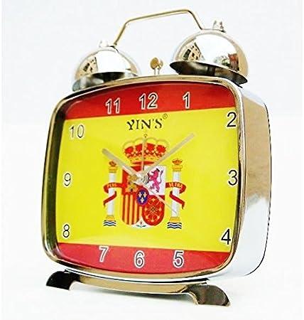 Reloj despertador vintage retro de campanas bandera español España en metal: Amazon.es: Hogar