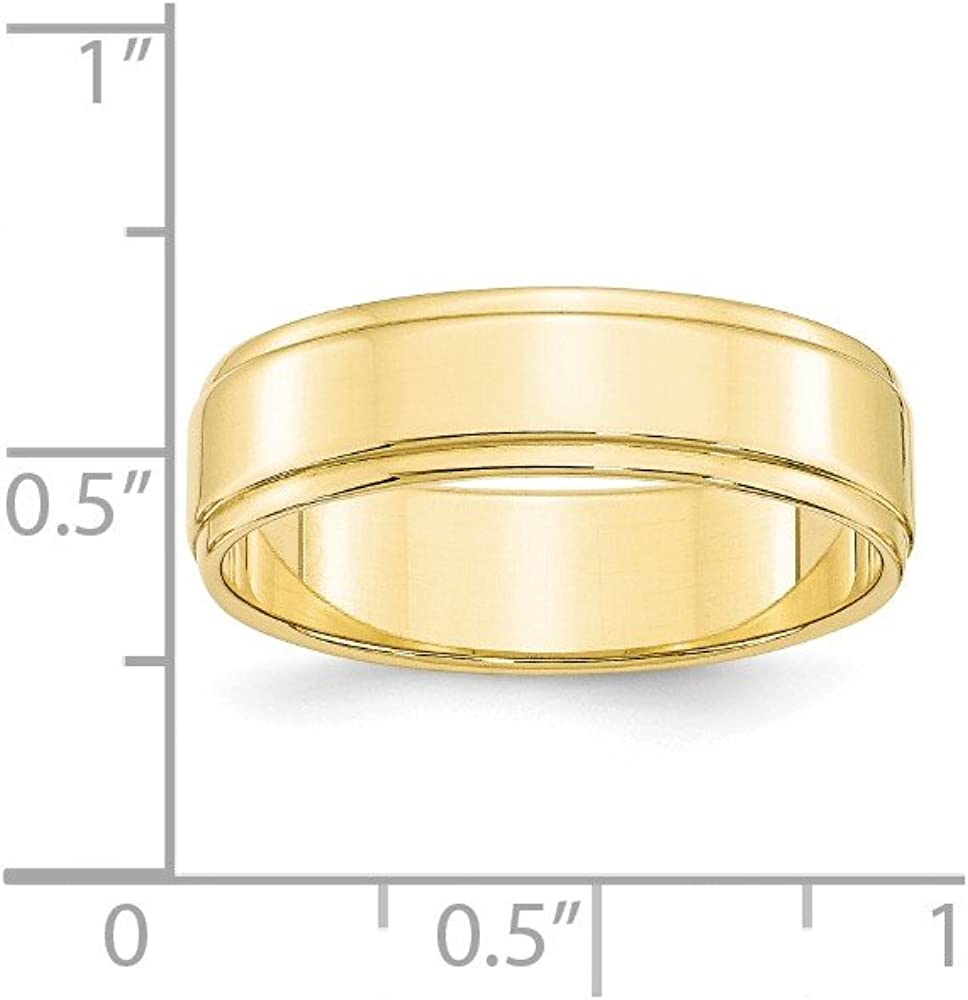 Jewel Tie 10k Yellow Gold 6mm Flat with Step Edge Wedding Band