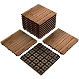 Yaheetech 12 x 12'' Patio Pavers Decking Flooring Deck Tiles Interlocking Wood Patio Tiles 11 Pack Tiles Patio Garden Deck Poolside Indoor Outdoor