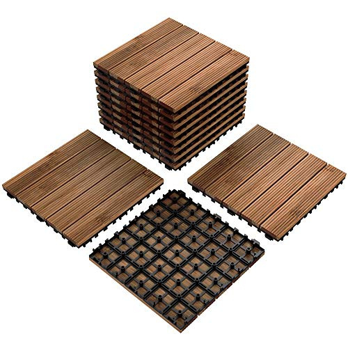Yaheetech 12 x 12'' Patio Pavers Decking Flooring Deck Tiles Interlocking Wood Patio Tiles 11 Pack Tiles Patio Garden Deck Poolside Indoor Outdoor (Concrete Cover Patio With Deck)