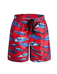 ORANSSI Big Boys' Shark Printed Swim Trunks Beach Shorts Bathing Suit