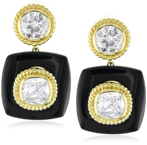 """CZ by Kenneth Jay Lane """"Trend Cubic Zirconia"""" Gold-Plated Onyx Tile and Large Bezel Earrings"""
