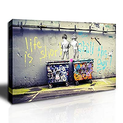 DINGDONG ART - Graffiti Street Art Canvas Graffiti Art Prints on Canvas Stretched Framed Canvas Wall Art Decor for Living Room Home Walls Ready to Hang - Framed canvas wall art printing high definition giclee modern artwork, picture photo printed on high-quality canvas. A great gift idea for your relatives and friends. High definition artwork print on canvas with vivid waterproof color on thick high-quality canvas to create the look and feel of the original nature and masterpiece. Framed painting is already ready to hang.There is a hook on each panel, and we provide some nails. - wall-art, living-room-decor, living-room - 51toyRpM6RL. SS400  -