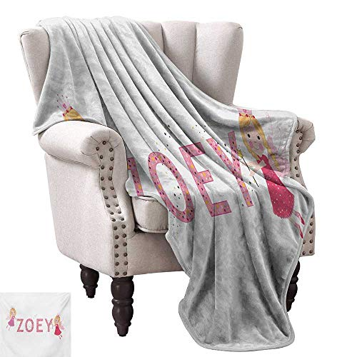 Zoey Blanket Sheets Feminine Themed Baby Girl Name Magic Creatures Calligraphic Alphabet Letter Design Fall Winter Spring Living Room 60