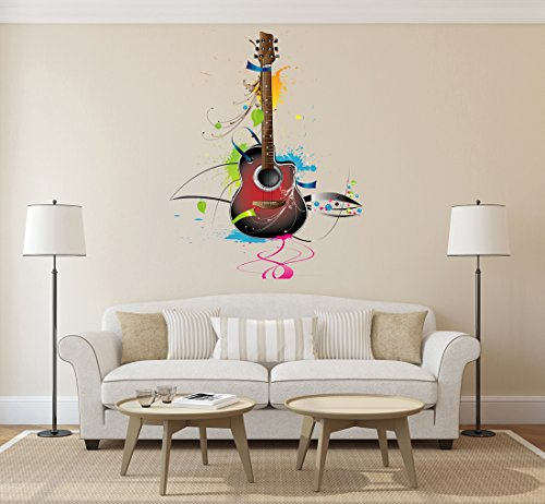 StickersForLife cik670 Full Color Wall Decal Guitar Musical Instrument Music Song Bedroom