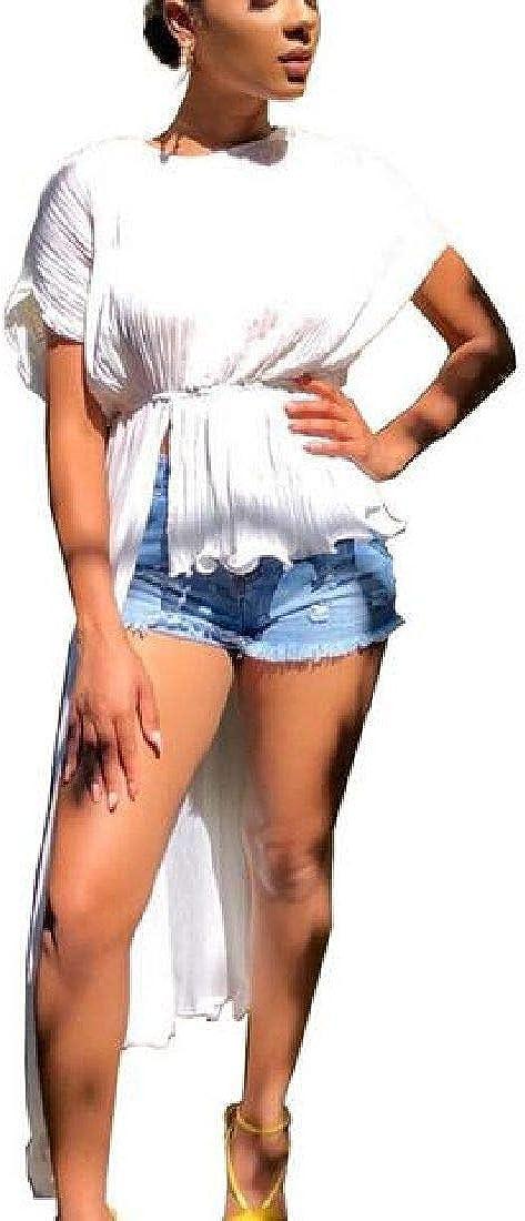 Fubotevic Women Chiffon Crew Neck Asymmetric Hem Short Sleeve Tops Blouse T-Shirt
