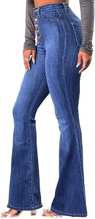 Lovelegis Jeans De Mujer De Cintura Alta Pata Pata De Elefante Anos 70 Vintage Stretch Nina Denim Color Azul Talla M Amazon Es Ropa Y Accesorios