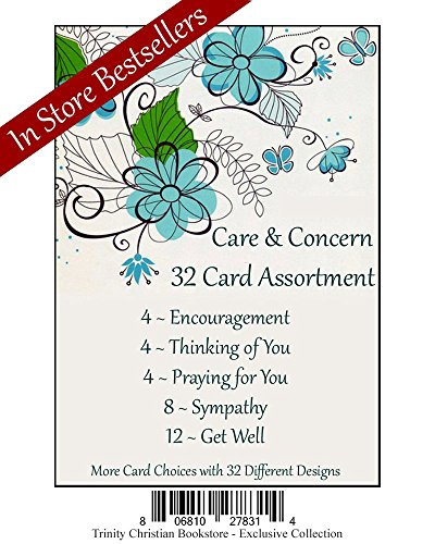 (Care & Concern Premium Religious 32 Card Set w/ Scripture and NO repeated cards ~ Includes 4 Encourage, 4 Thinking of You, 4 Praying for You, 8 Sympathy, & 12 Get Well ~ 32 Diff. Designs)