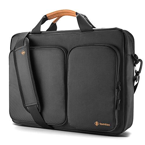 "Portfolio Bag Laptop - tomtoc Travel Messenger Bag 15.6"" with Protective Laptop Compartment Briefcase Shoulder Bag Fit for 13-15 Inch HP Dell Acer Lenovo Asus Samsung Notebook Tablet, Black"