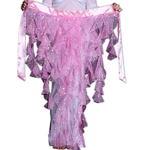 [2017 Cool Pole Dance Costumes Nine-Tailed Fox Chiffon Sequins Belly Dance Leaf Skirt Hip Scarf(Pink)] (Viennese Waltz Costume)