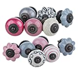 Assorted Set of 12 pcs Jay Knopf No. US12-12016 pink, grey, creme black Ceramic Porcelain pottery cabinet door and furniture knobs drawer pulls furniture handles shabby chic vintage knob