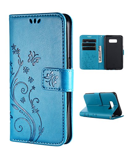 Samsung S8 Plus Case,Galaxy S8 Plus Wallet Case, FLYEE Flip Case Wallet Leather [kickstand] Emboss Butterfly Flower Folio Magnetic Protective Cover with Card Slots for Samsung Galaxy S8 Plus Blue