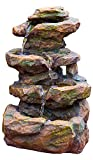 16'' Emerald Pools 4-Tier Waterfall Rock Fountain w/LED Lights: Charming Outdoor Water Feature for Gardens & Patios. Adjustable Pump. HF-R21-16LT