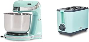 Dash Stand Mixer (Electric Everyday Use) & DEZT001AQ 2 Slice Extra Wide Slot Easy Toaster with Cool Touch + Defrost Feature, for Bagels, Specialty Breads & other Baked Goods, Aqua