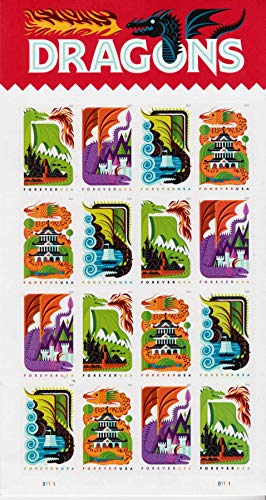 Dragons - 2018 USPS Forever First Class Postage Stamp (Sheet of 16) (United Postal Stamps)