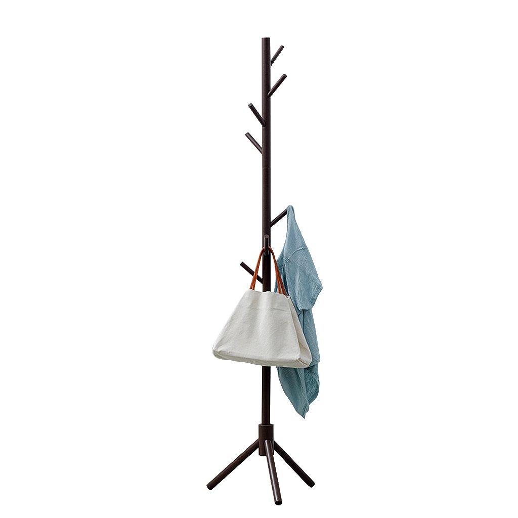 BROWN DQMSB Wooden Coat Rack 7 Hook Hat and Coat Rack Free Standing Tree Hanger Track Hanging Storage Entrance Hall Hall Bedroom Closet Wardrobe 175cm Coat Racks (color   Red)