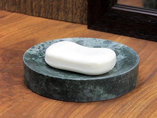 KLEO Natural Marble Stone Soap Dish Soap Holder Bath Accessories for Bathroom, Tub or Wash Basin Accessory (Green)