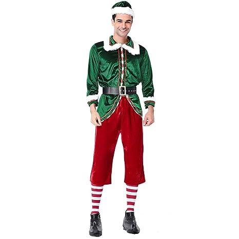 QQWE Hombres Vestido De Duende De Navidad, Papá Noel ...