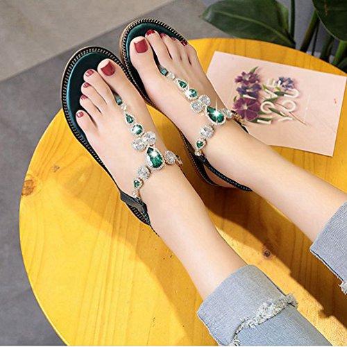 Vert String Fashion élastique Tongs Scintillement JRenok Confort Flat Femmes Bling d'été Plage pour Sandales Le avec 1qnZ6w