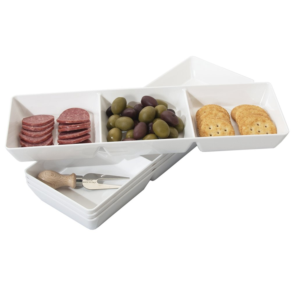 Avant 3-Compartment Plastic Appetizer Serving Tray   set of 4 White