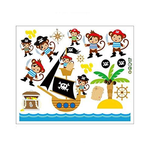 - Fangeplus R DIY Removable Pirate Monkey Cute Cartoon Adventure Nautical Art Mural Vinyl Waterproof Wall Stickers Kids Room Decor Nursery Decal Sticker Wallpaper 23.6''x19.6''