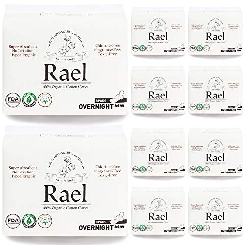 Rael Bundle Package - Rael Certified Organic Cotton Pads 10 Pack / 80 Total (Overnight)