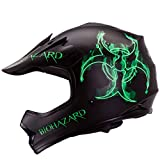 Youth / Kid Bio-hazard Flat Matte Black Motocross Motorsport Atv Dirt-bike Helmet DOT (S)