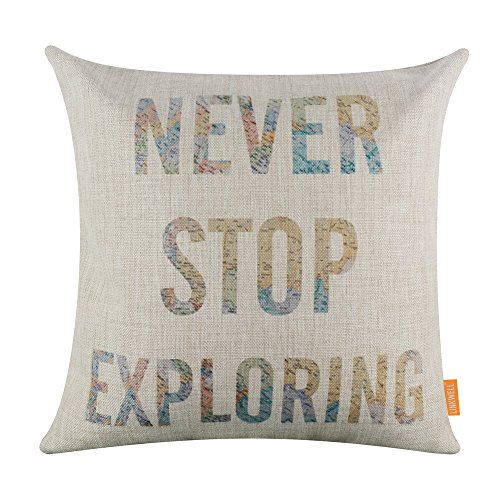 LINKWELL 18″x18″ World Map Words Lettering Never Stop Exploring Home Decor Burlap Cushion Covers Pillow Case