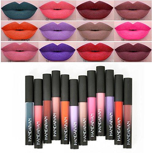 Anself 12Pcs Metallic Nude Lip Tint Velvet Matte Liquid Lipstick Pigment Long Lasting Lippenstift Lip Gloss by Anself